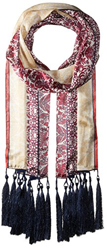 Vince Camuto Women's Paisley Panels Oblong Scarf, Beet Red One Size