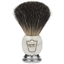 Parker Safety Razor 100% Premium Black Badger Bristle Shaving Brush with Ivory Marbled Handle - Brush Stand Included