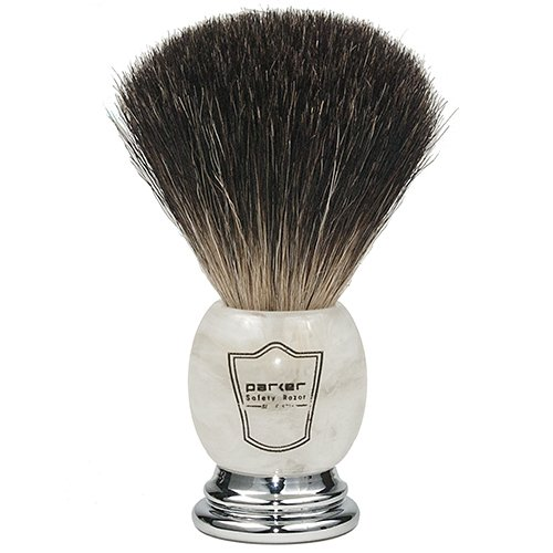 Parker Safety Razor 100% Premium Black Badger Bristle Shaving Brush with Ivory Marbled Handle -- Brush Stand Included