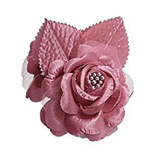 12 Silk Roses Wedding Favor Flower Corsage Pick - Mauve 47