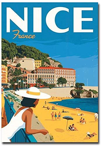 Nice France Travel Vintage Art Refrigerator Magnet Size 2.5