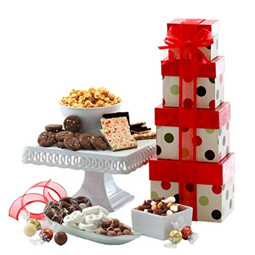 Broadway Basketeers Happy Holiday Season Gift Tower with Peppermint Bark, Gourmet Nut Mix, Caramel Salted Cookies, Yogurt Pretzels, Assorted Sweets & Chocolates. The Perfect Christmas Gift