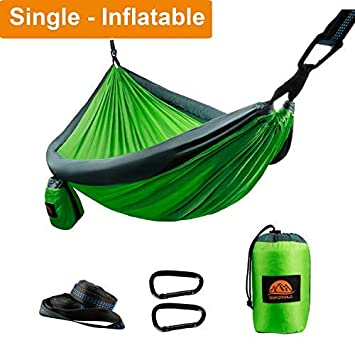 GOFORWILD Camping Hammock, Single Double Parachute Nylon Hammocks, Lightweight Portable Backpacking Hammock with Heavy Duty Tree Straps Carabiners for Indoor, Outdoor, Hiking, Backyard, Beach