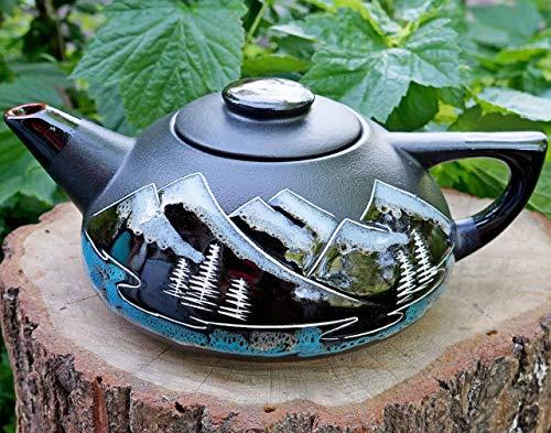 Teapot mountain, Handmade hand painted ceramic teapot 33.8 oz, Adventure awaits gift, Housewarming, anniversary birthday