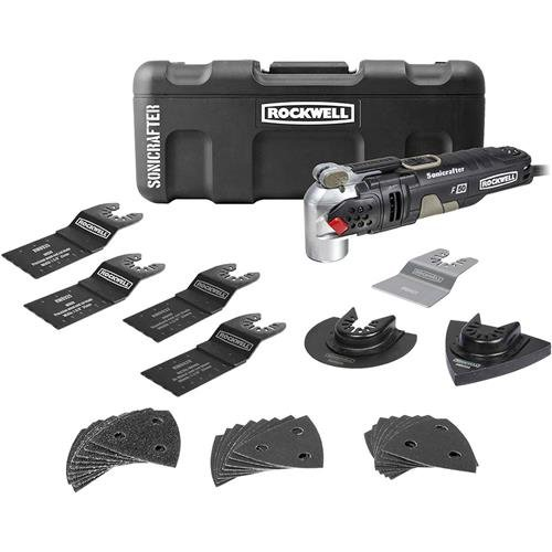 Rockwell 4.0 Amp Sonicrafter F50 Oscillating Multi-Tool, Variable Speed with Hyperlock and Vibrafree Technology and Universal Fit System, 34-Piece Kit and Case - RK5141K