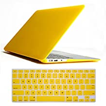 "Neway 3 in 1 bundle Matte Surface Crystal Rubberized Hard Shell Case cover protector for Apple Macbook Air 11"" (A1370 and A1465)& Keyboard Cover(fit for USA model) & HD Screen protector,11.6"" Air,Yellow(bundle)"