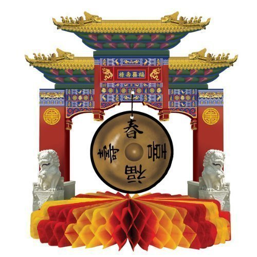 Asian Gong Centerpiece - 9 inch (Sold by 1 pack of 12 items) by Beistle