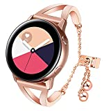 for Galaxy Watch Active 40mm Women Bands, TRUMiRR Jewelry Bangle Watchband Bling Hollow