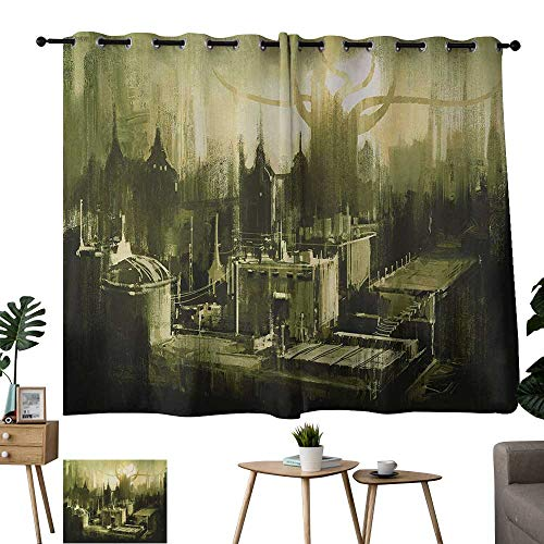 Warm Family Long Curtains Gray,Sunset in a Gothic