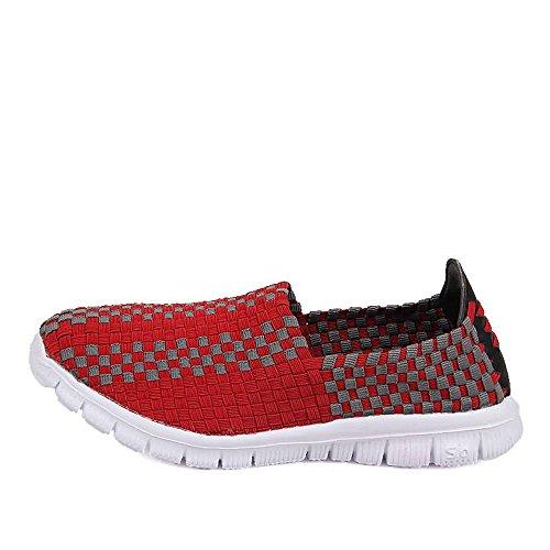donna Grid da 2018 EU Vamp uomo Sneaker e ginnastica Color Pattern nuevo On Black Dimensione Scarpe 43 Fashion per shoes Rosso Shufang gray Leisure Splice Slip v0qwfxI5y