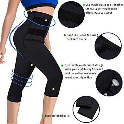 Ursexyly Women Sauna Yoga Pant Capris Fat Control Sweat Legging with Waist Trainer Belt Hot Sweat Pants