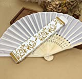 White 30Pcs/Lot Hot Sell Beautiful Gift Box (Gold, Silver) Personalized Fabric Folding Held Hand Fan For Wedding