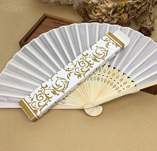 White 30Pcs/Lot Hot Sell Beautiful Gift Box (Gold, Silver) Personalized Fabric Folding Held Hand Fan For Wedding by Hand Fan