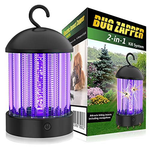 HBUDS Electric Bug Zapper, Bugs Electric Killer Shock Fly Insect Trap, Indoor Pest Control Night Lamp, 2000V Powerful Mosquito Killer Light Bulb for Outdoor, Patio, Camping, Portable Mosquito Lamp