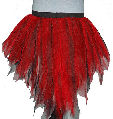 [Red Black Trashy Bustle Peacock Seven Layer Trashy Ladybug Tutu Skirt Halloween] (Peacock Spider Costume)