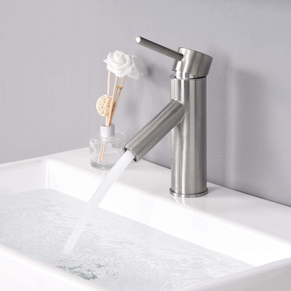 Aquaterior Modern Brushed Nickel Single Hole Bathroom Faucet Single Handle 1 Or 3 Hole Under Mount Sink Faucet Cupc