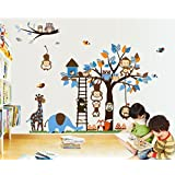 Giant Wall Decals for Kids Rooms, Nursery, Baby, Boys & Girls Bedroom - Peel & Stick,Removable Vinyl Wall Stickers - Lovely Blue Animals Owls Monkeys Birds Elephant Giraffe Fox Bear Mashroom Trees