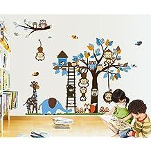 Giant Wall Decals for Kids Rooms, Nursery, Baby, Boys & Girls Bedroom - Peel & Stick,Removable Vinyl Wall Stickers - Lovely Blue Animals Owls Monkeys Birds Elephant Giraffe Fox Bear Mashroom Trees