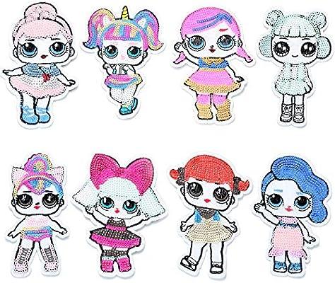 "LOL Suprise Girls Patch Sequin Cloth Glue //Sew On Applique 8/"" Unicorn"