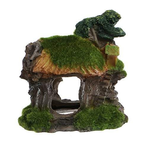 Delight eShop Aquarium Ornament Rockery Hiding Cave Landscape Underwater View Fish Tank Decor