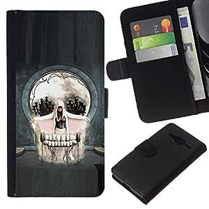 NEECELL GIFT forCITY // Billetera de cuero Caso Cubierta de protección Carcasa / Leather Wallet Case for Samsung Galaxy Core Prime // Cráneo gótico del arte abstracto