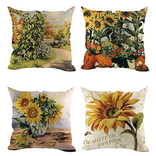 Wenini Decorative Throw Pillow Case Set of 4 Faux Sunflower Pillowcase Coffee Shop Sofa Cushion Cover Home Decor 45X45cm/18x18inch