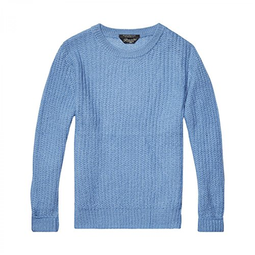 Scotch & Soda Maison Fluffy Crew Neck Pullover Knit, Suéter para Mujer Viking Blue