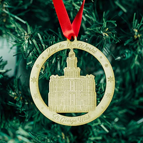 LDS St. George Temple Ornament - Wood