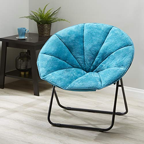 Mainstay Plush Saucer Chair, Multiple Colors (Teal) + Free Soft Toss Pillow