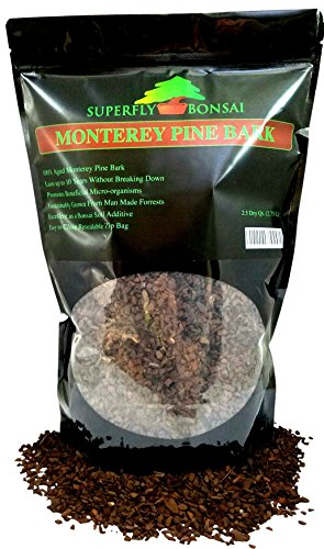 Bonsai Pine Bark - 100% Aged Monterey Pine Bark - Perfect Size For Bonsai - Can Also Be Used As An Additive For Bonsai Soil In Easy Zip Bag (2.5 Dry Quart)