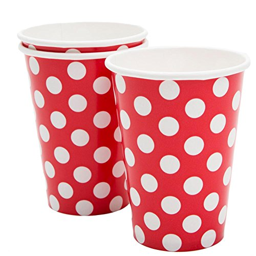 12oz Red Polka Dot Paper Cups, 6ct Christmas Drinks White Background