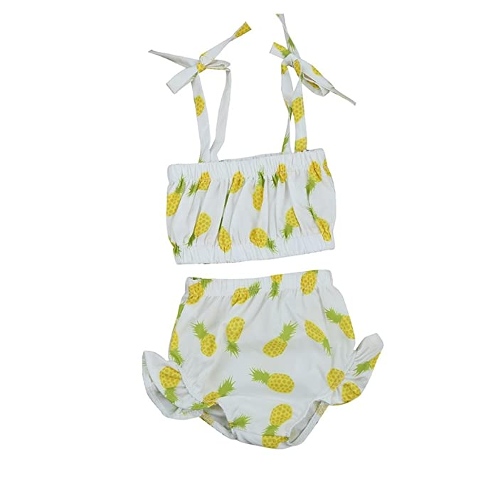 39d36f53e3 Clode® for 0-2 Years Old, Cute Baby Girls Summer Pineapple Print Top and Shorts  Swimwear Two Pieces Bikini Swimsuit Tankini Clothes Outfits Set: ...