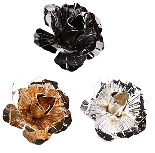 (3PCS Men's Rose Golden Flower Lapel Stick Brooch Pins for Sui,Black/Sliver/Gold)