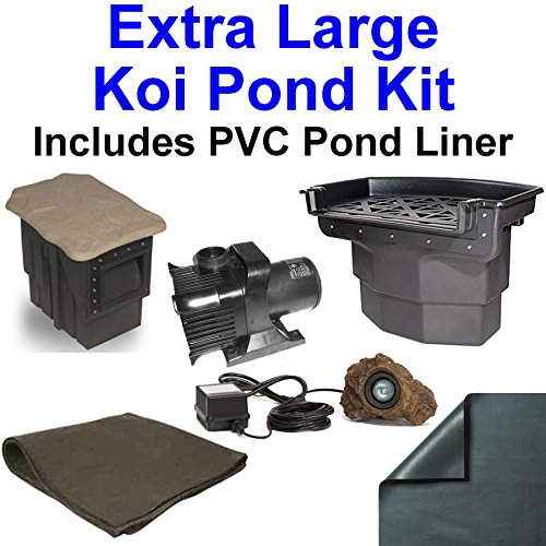 20' x 30' Extra Large PVC Pond Kit, Atlantic Water Gardens BF2600 Filtering Waterfall & PS1311 Skimmer, 5,200 GPH Pump - PVC2030 by Patriot
