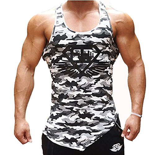 Men Muscle Fitness Gym Stringer Tank Tops Bodybuilding Workout Sleeveless Shirts