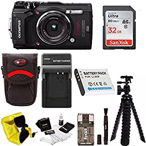 Olympus TG-5 Waterproof Digital Camera w/ 32GB SD Card, Spare Battery, Charger, Case, & More