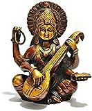 Aone India Hindu Goddess Saraswati Playing the Vina Bronze Finish Statue Sculpture Figurine Sarasvati + Cash Envelope (Pack Of 10)
