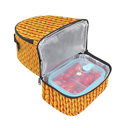 de para Bolso ajustable con correa textura color doble para picnic amarillo lana almuerzo de hombro OR0q70nxdW