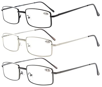 d636ee2a9f3d Image Unavailable. Image not available for. Color  3-pack Eyekepper Readers  Rectangular Spring Temple Medium Metal Reading Glasses Men Women +1.0