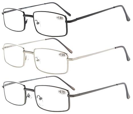 488093edc385 Amazon.com  3-pack Eyekepper Readers Rectangular Spring Temple Medium Metal  Reading Glasses Men Women +1.0  Health   Personal Care
