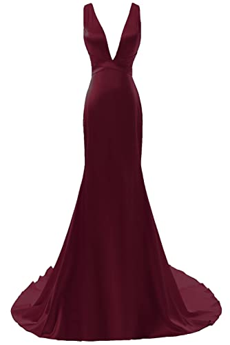 DYS Women's Plunging Neckline Mermiad Prom Dress Long Evening Formal Dresses