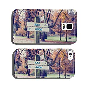 Rustic wooden sign in an autumn park with the words Bad - Good cell phone cover case iPhone6 Plus