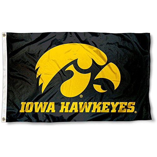 Iowa Hawkeyes Black University Large College Flag (University Iowa Colleges)