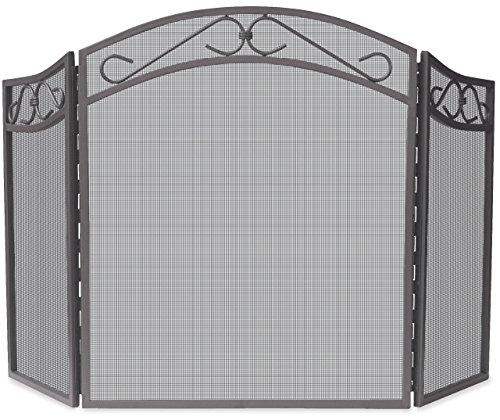 UniFlame 3-Fold Bronze Wrought Iron Arch Top Screen with Scrolls - Decorative Scroll Fireplace Screen