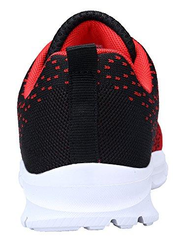 KOUDYEN Womens Running Shoes Fitness Sports Trainers Lightweight Gym Sneakers Red Black gnfZSjo21