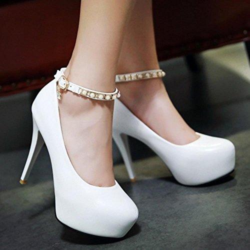 Talons Blanc Forme Sexy Aiguille Coolcept Chaussures Club Hauteur Bride Cheville Femmes Escarpins Mode Soirée Plate FSU0wq