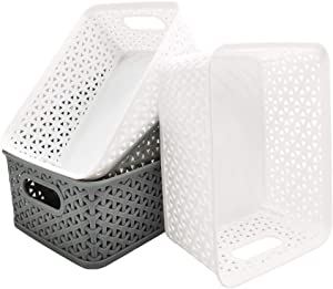 Xilanhhaa 4 Pack Plastic Storage Basket Small Rectangle Storage Baskets,Organizer Tote Bin for Closet Organization for Home,Kitchen and Office(2 White,2 Gray)