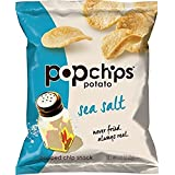 Popchips Potato Chips, Sea Salt Potato Chips, Single Serve Bags (0.8 oz.), Gluten Free, Low Fat, No Artificial Flavoring (Pack of 72)