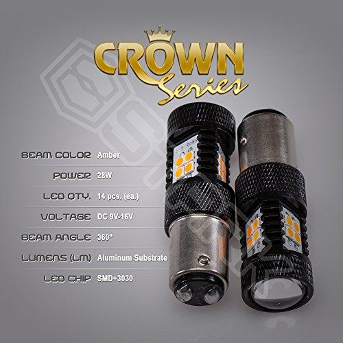Kit 28 Pcs Match - 2x 28W Kit 3000 lm Bulbs - Crown Series 3030 Max Intensity - 14 pcs SMD Chip Projector - 1157 2057 2357 7528 - Amber