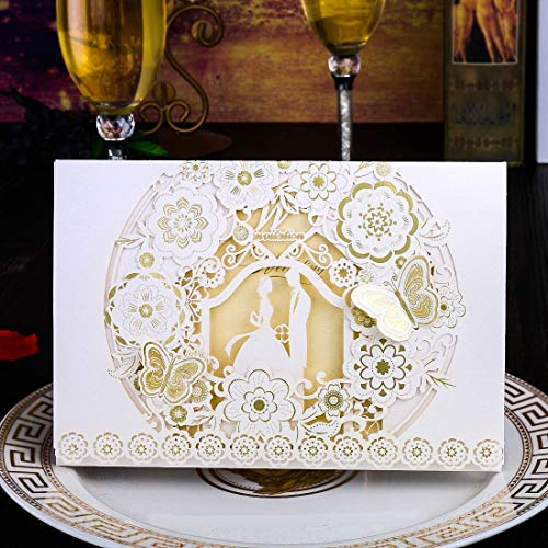3D Butterfly Wedding Invitations Laser Cut Cards with Hollow Lover Pattern Cardstock for Baby Shower Bridal Shower Engagement (white)